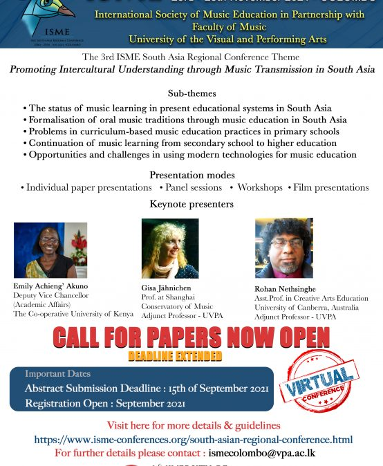 International Society of Music Education – Call for papers now open
